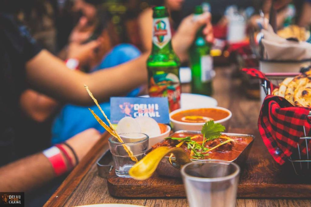 Delhi Bar Crawl delicious food and drinks