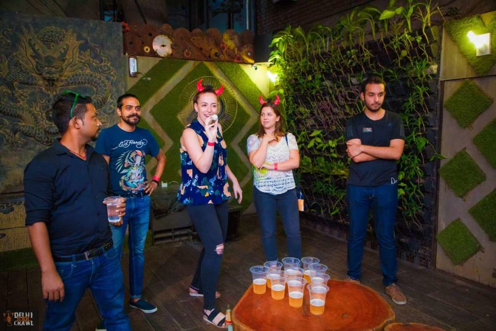 Delhi Bar Crawl beer pong game